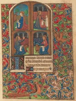 An illustration of the Four Evangelists writing on Scrolls