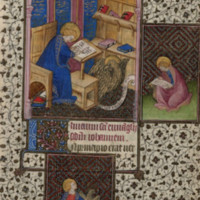 John writing in a codex with a scroll on the floor