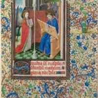 Matthew writes on a scroll